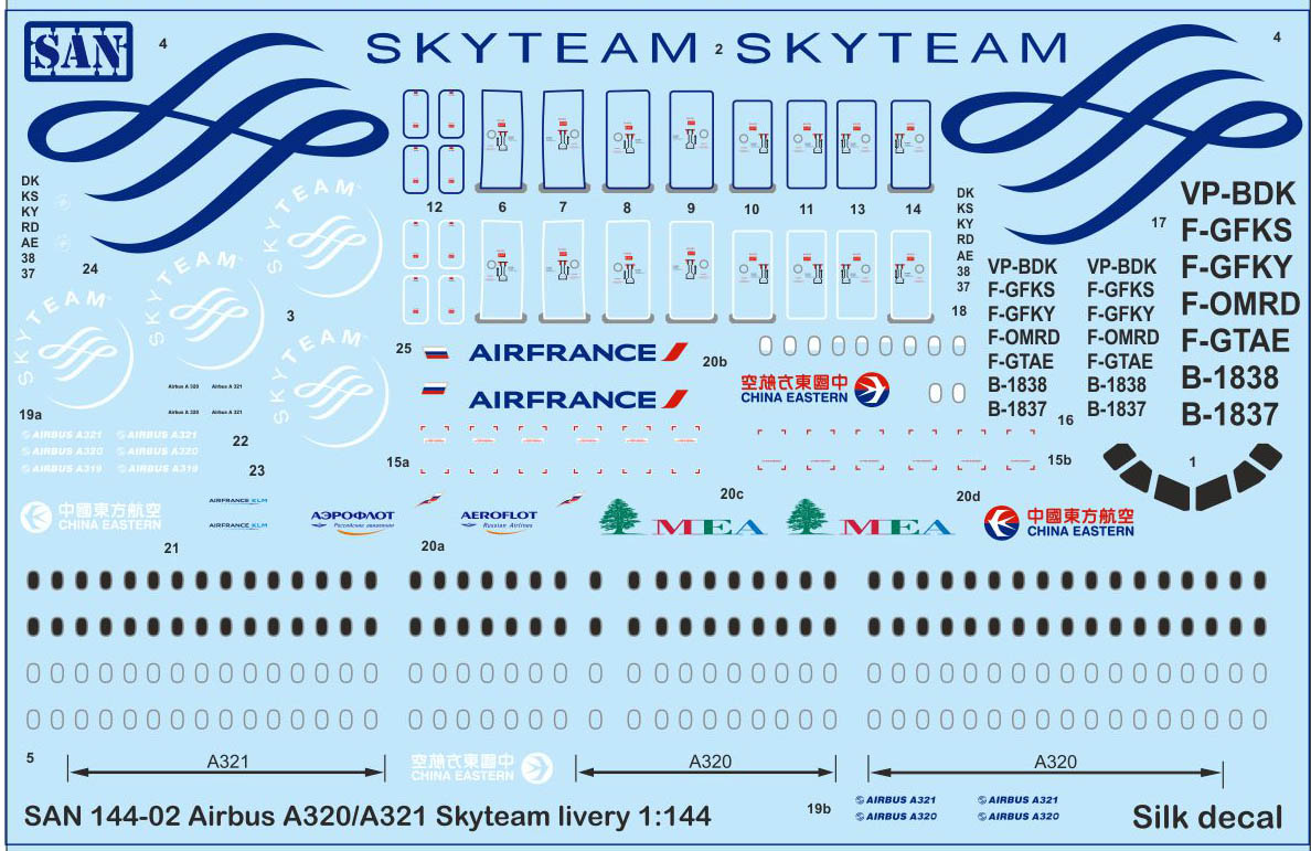 A32x Skyteam Silk Decal